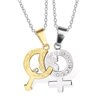 Two tone men women his her couple gender love fashion stainless steel male and female symbol pendant with chain