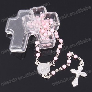 Small Immaculate Cross shape Rosary Box,Beads necklace box,jewelry plastic box