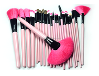 Makeup Cosmetics For Face 24pcs Professional Makeup Brushes With Wooden Handle Private Label Makeup Brushes With Leather Bag