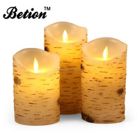 "flameless led candles moving wick Flameless Candles Birch Bark Effect Set Of 3, 5"" 6"" 7"" Classic Real Wax Pillar"