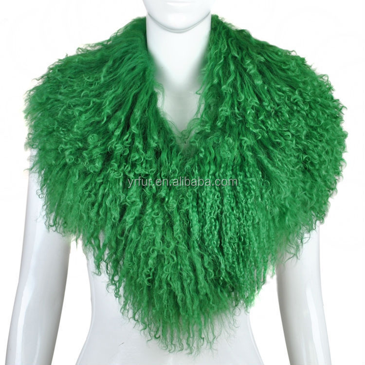 YR246 Fashion Style Real Mongolian Lamb Fur Big Collar