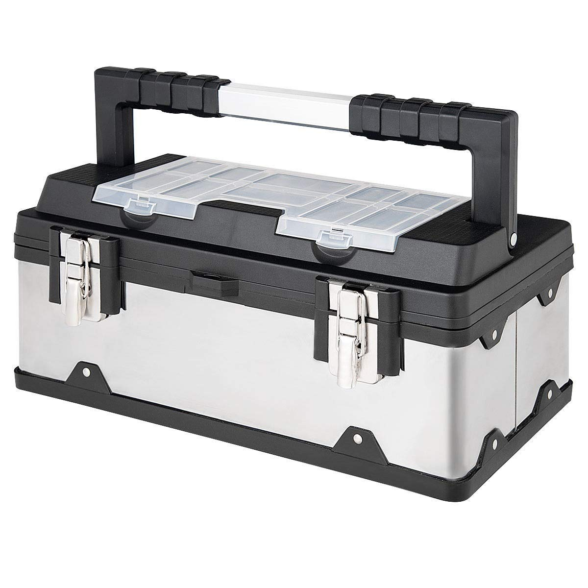 Cypressshop Professional Portable Toolbox Stainless Steel and Plastic Tools Storage Tool Box Organizer 18 Inch With Lid Power Tools Home Workshop