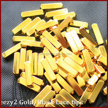Yeezy metallic golden shoelace tips, gold glitter shoelaces, brass shoelace tips