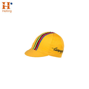 Custom 5 Panel Yellow Running Cap/Cycling Cap With Rainbow Stripe