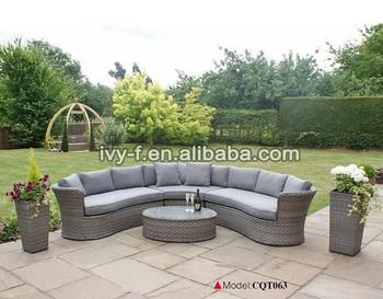 Garden synthetic wicker furniture half moon sectional sofa for Sofas mimbre exterior