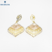New fancy design leaf shaped gold earrings from china factory