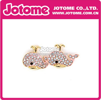 Dolphin Fancy Design Pink Rhinestone Crystal Earring Stud Fahion Jewelry Supplies
