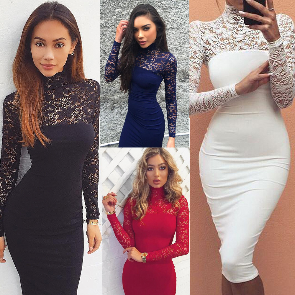 ed5c5d4f12e B9663 Custom New Style Fashion Dresses Women Long Sleeve Design Lace Sexy  Dress