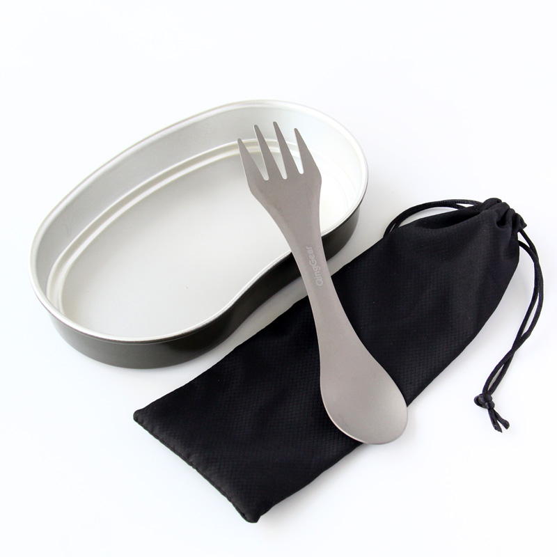 Titanium Outdoor Camping Hiking Tableware Spoon Spork Fork Utensil Picnic Gadget Cooking with Nylon Pouch