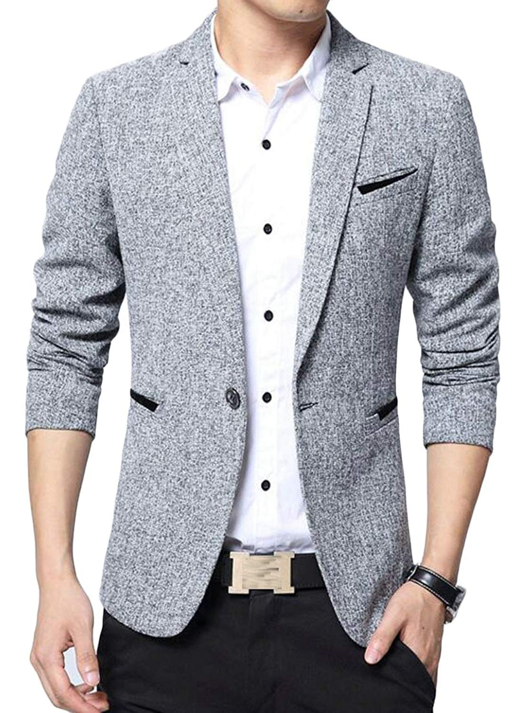 Cromoncent Mens Lapel Collar Slim Solid Coat One Button Blazer Jackets