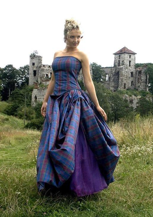 Wedding Tartan Silk Gown,Corset Skirt - Buy Wedding Dress,Tartan ...