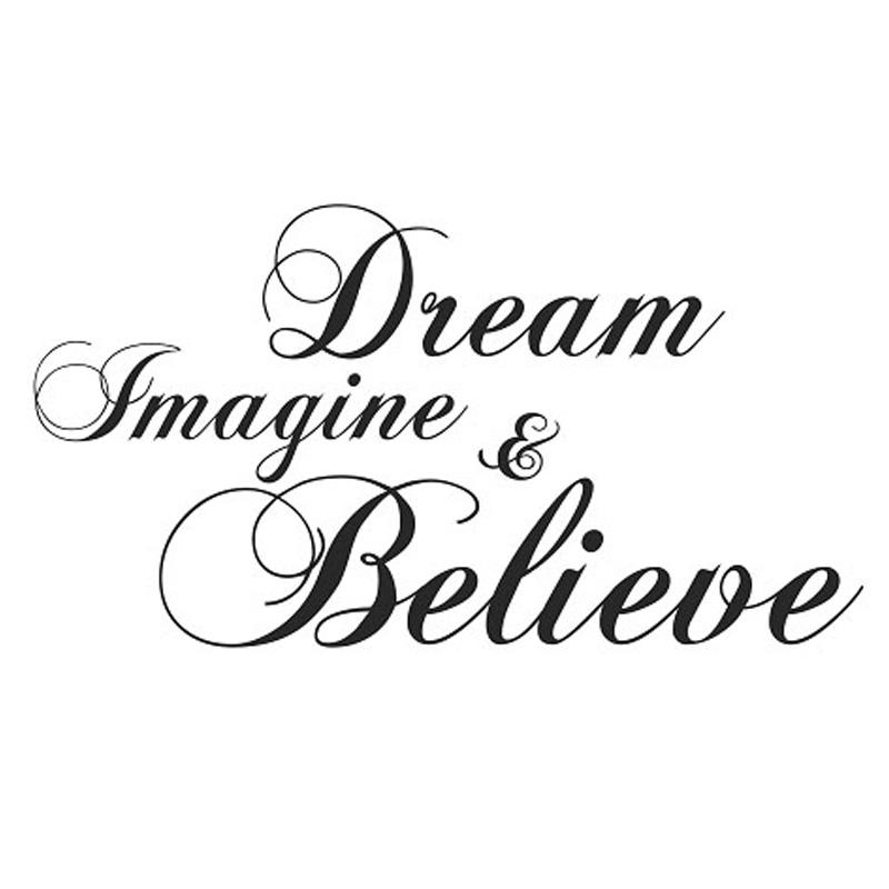 Dream Imagine And Believe Wall Sticker Inspiration DIY Home Decor Creative Art Vinyl Wall Decal 59x31cm