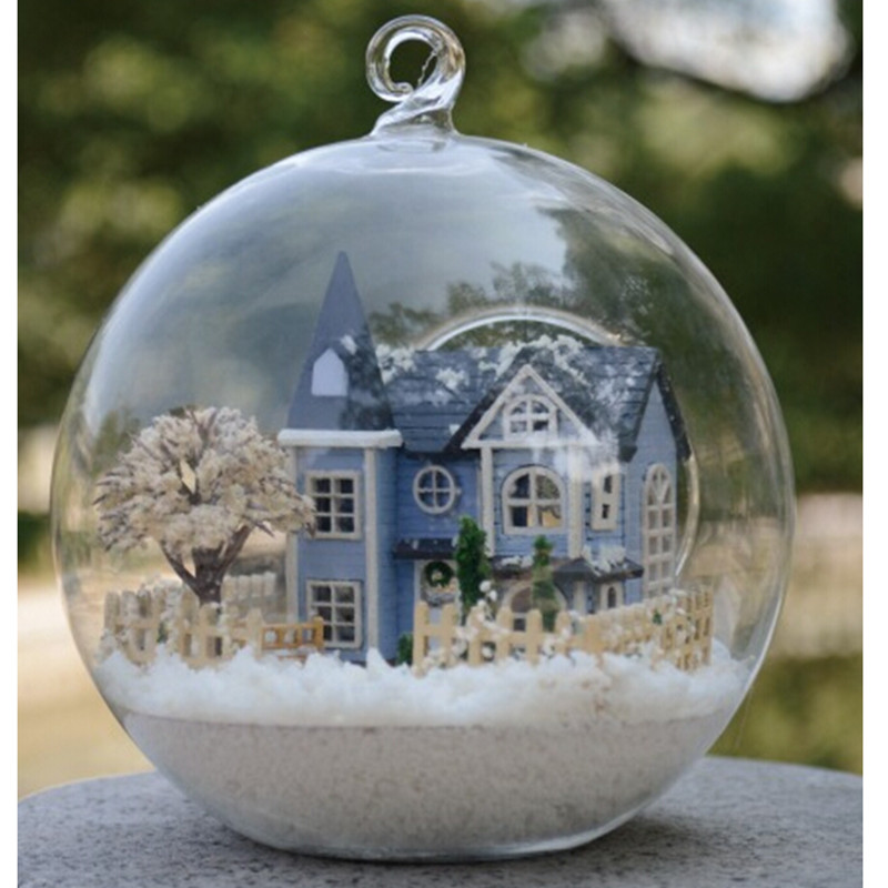 Mini Angel Fairy Town Glass Ball House Handmade Wooden House Miniature Toys for Children Christmas Birthday