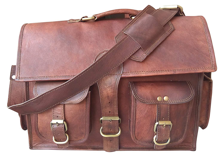 "Leather Stor 16"" inch Handmade Genuine Leather Bag Laptop Bag Brown"