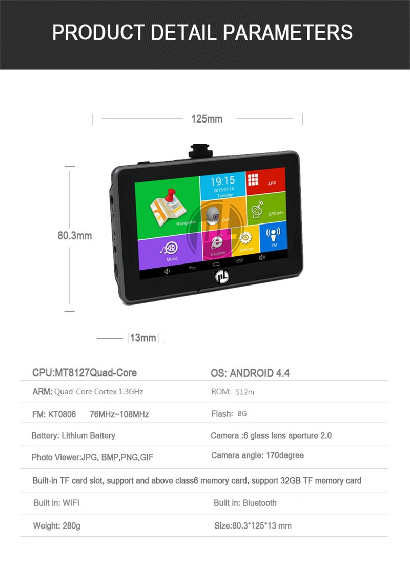 Car Android GPS MTK8127 Cortex A7*4 1.3GHz 4.5 inch IPS screen 854*480