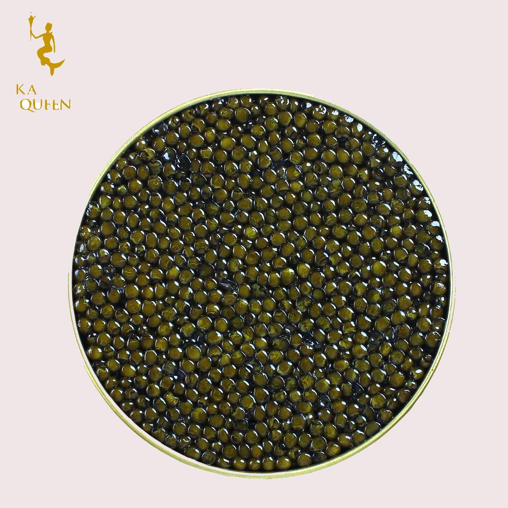 Imperial level high quality rich black pearl caviar almas light brown caviar