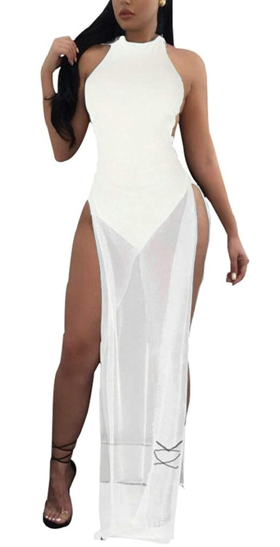 39cc7e80fde9 Get Quotations · Generic Women s Horse Sexy Sheer Strapless Bodycon Overlay  Clubwear Long Maxi Dress