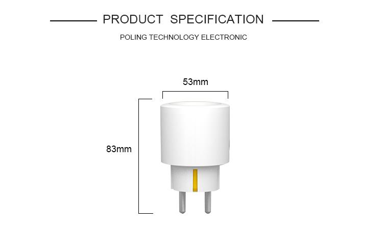CE RoHs Genehmigt Tuya EU Smart Buchse Wi-Fi Mini Stecker Kompatibel für Google Home Amazon Alexa
