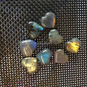 Wholesale carved mini natural polished labradorite crystal stone hearts for gift