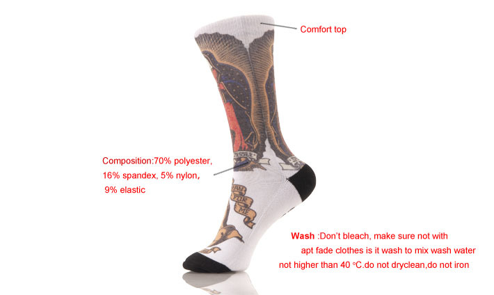 Custom Fashion Colorful Sublimation Print Socks