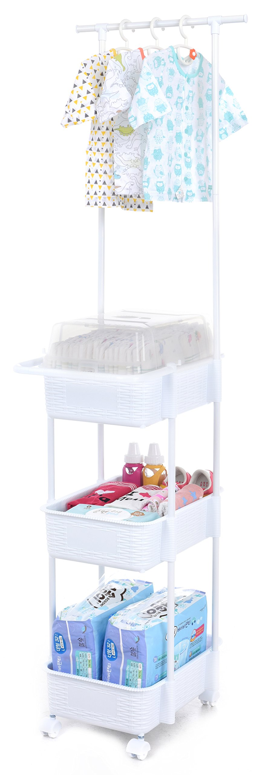 Tenby Living Diaper Caddy & Nursery Organizer with Clothes Rack & Hangers, White