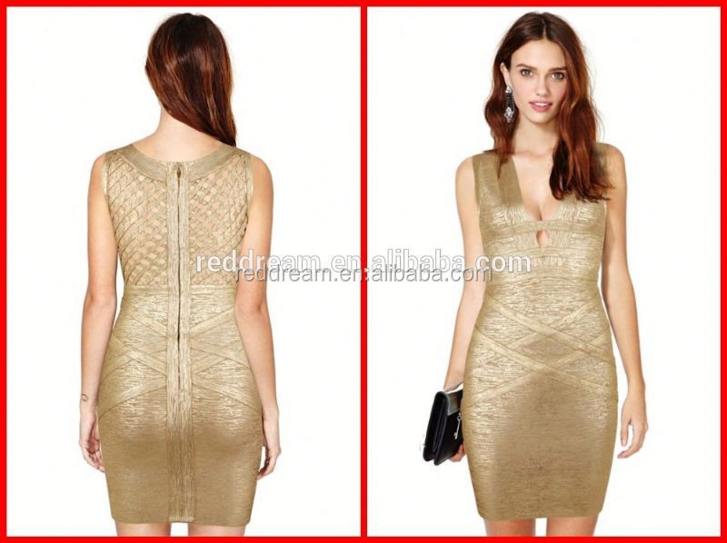 cloths for printing wholesale gold bandage dress high quality evening dress