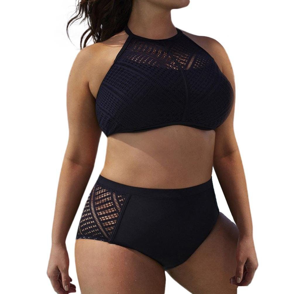 Get Quotations · Laimeng world 2PCS Women s Plus Size Swimsuit Set Halter  High Waist Hollow Out Swmsuit Beach Wear ( 4b9730a7e
