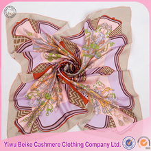 Custom design high quality 100% purple silk scarf for ladies