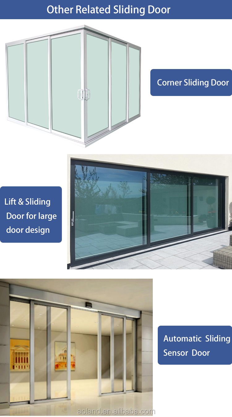 High performance Aluminium double  Glass Sliding door with net AS2047