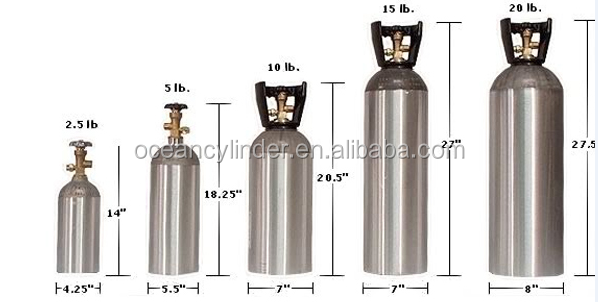 Carbonated beverage Aluminum CO2 Cylinder with QF-35/QF-35A/QF-35B/QF-35C valve for coke and soda