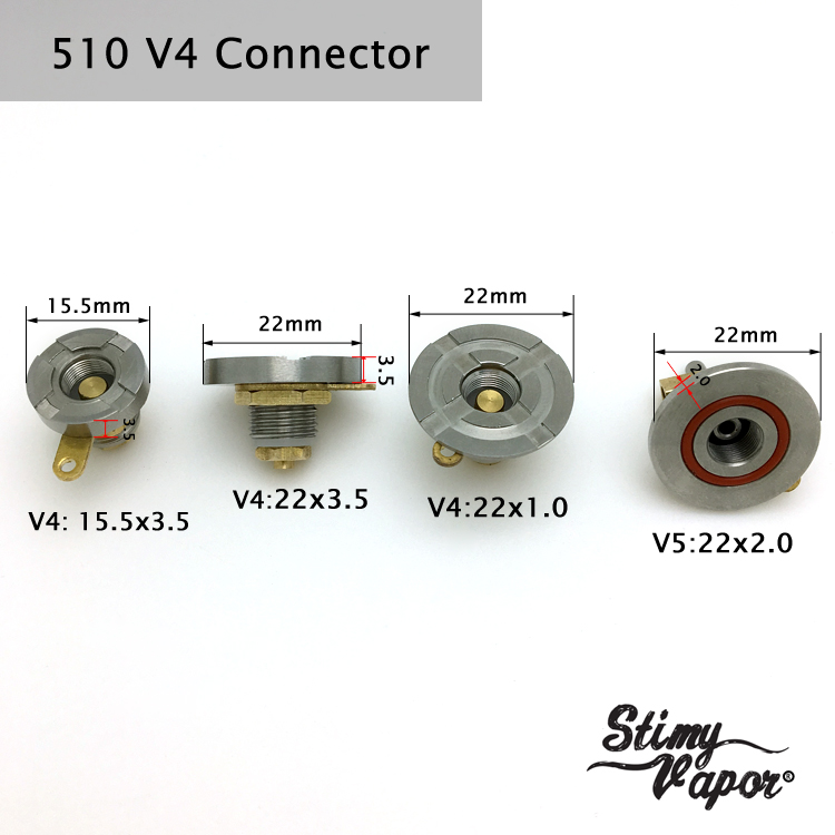 Custom V5 V4 Connector 510 Spring Loaded E Cig Battery Conector Diy - Buy  Spring Loaded Connector,510 Connector 22mm,510 Mod Connector Product on