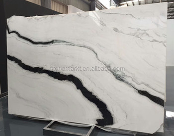 Beautiful Panda White Marble Bookmatched Slabs For Table