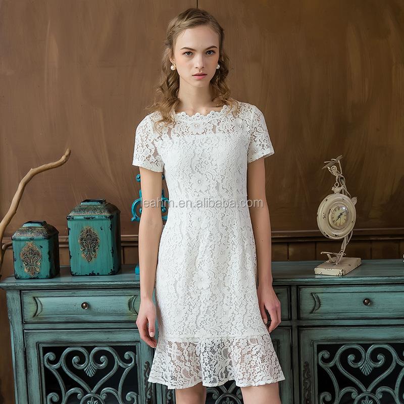 0476a4bf2b5b 2017 nuova estate delle donne solubile in acqua pizzo maniche corte abito  bianco di pizzo