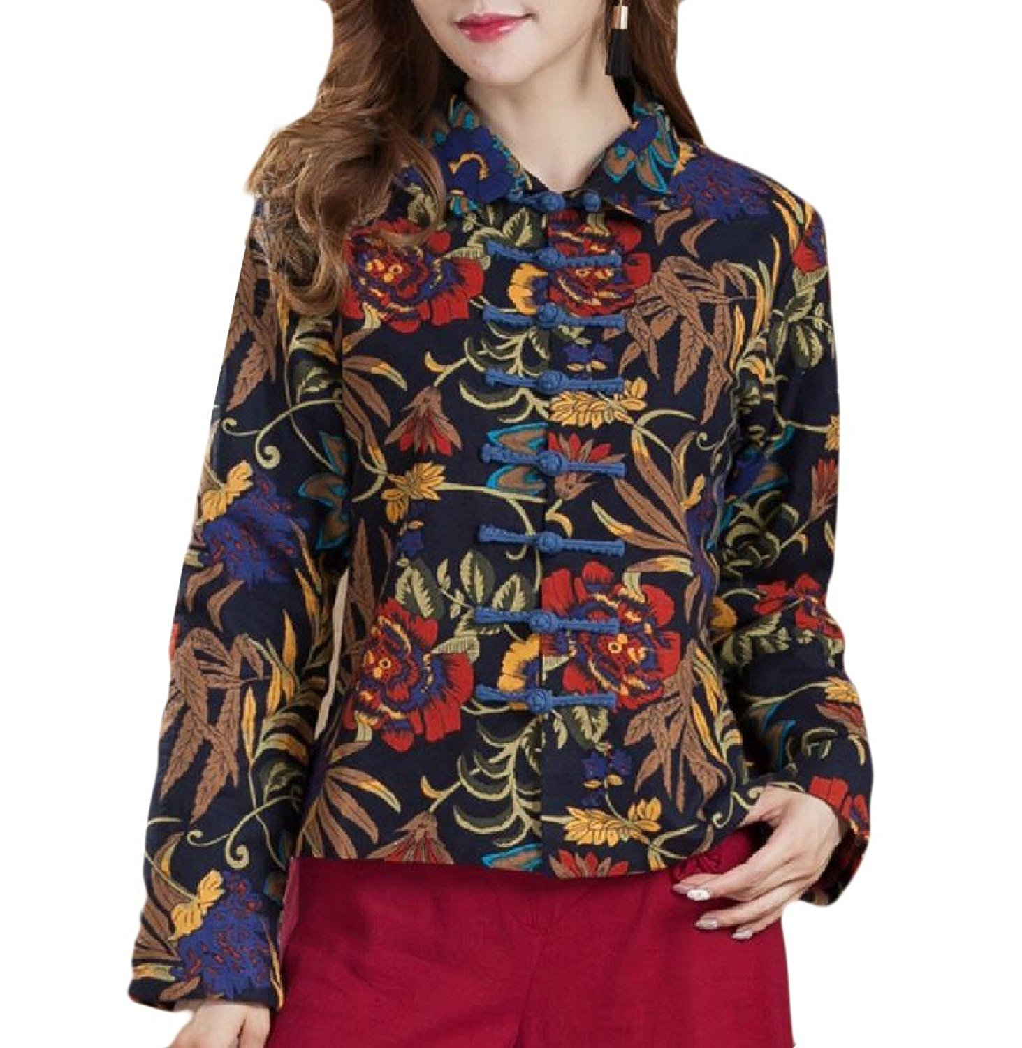 Sheng Xi Women's Chinese Style Floral Print Stand Collar Anorak Jacket