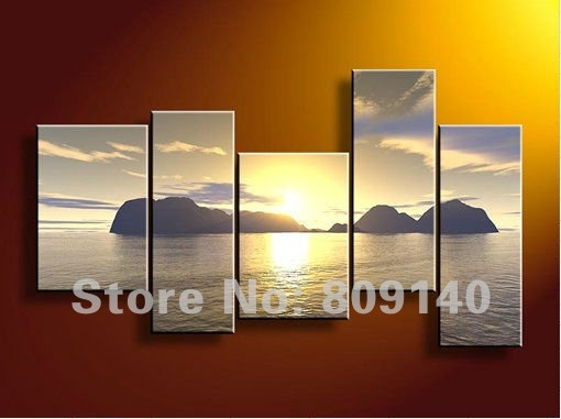 Oil painting decoration sea scenery seascape canvas modern for Hotel wall decor