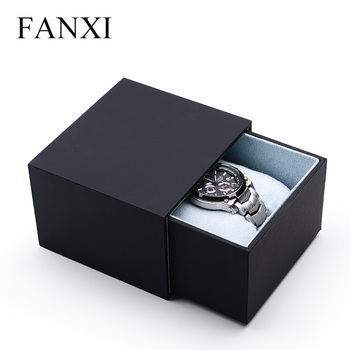 FANXI China Custom Logo Black Paper Storage Boxes Packaging With Drawer Bracelet Bangle Jewelry Watch Packing Box