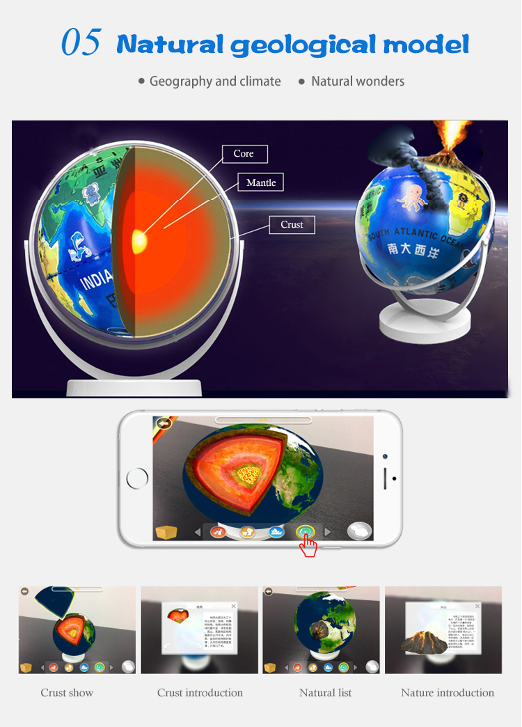 2018 interactive educational augmented reality ar globe explorer technology toys