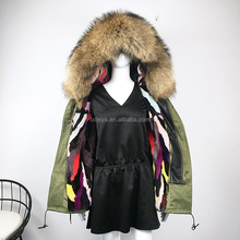 2017 Women Winter Fur Parka/real raccoon Fur Collar Coat/ Multi Color Real mink Fur Lined Parka
