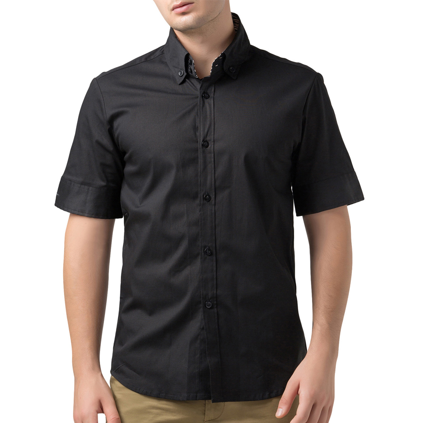 62fe65c64909 Men Dress Black White Camisa Masculina Slim Fit 2015 Short Sleeve Solid  Color Men Casual