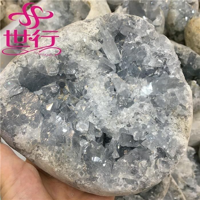 hot sale high quality Natural rock blue crystal geodes blue calcite cluster for decoration