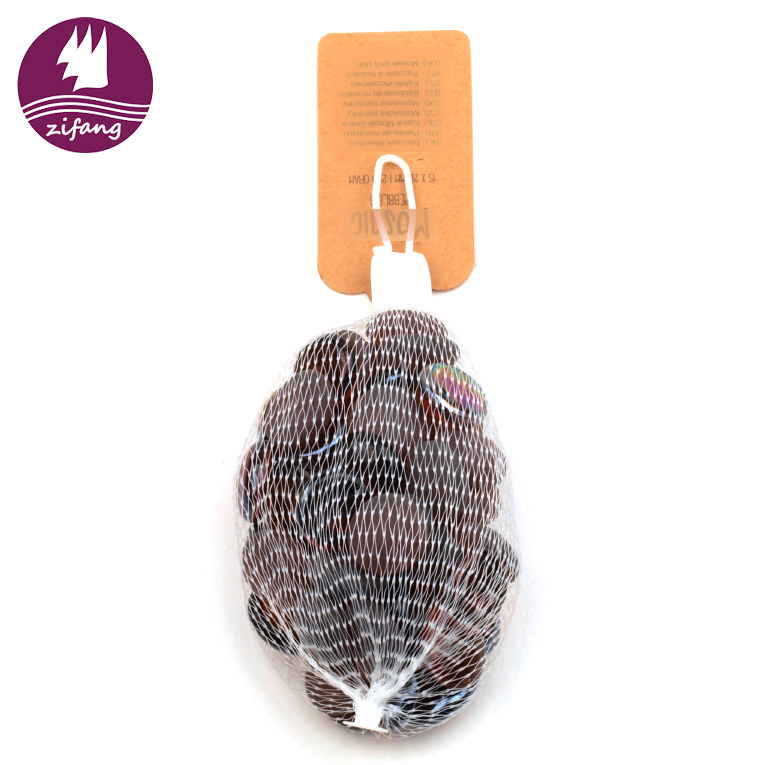 Mesh bags design home decorative glass landscaping rocks pebbles