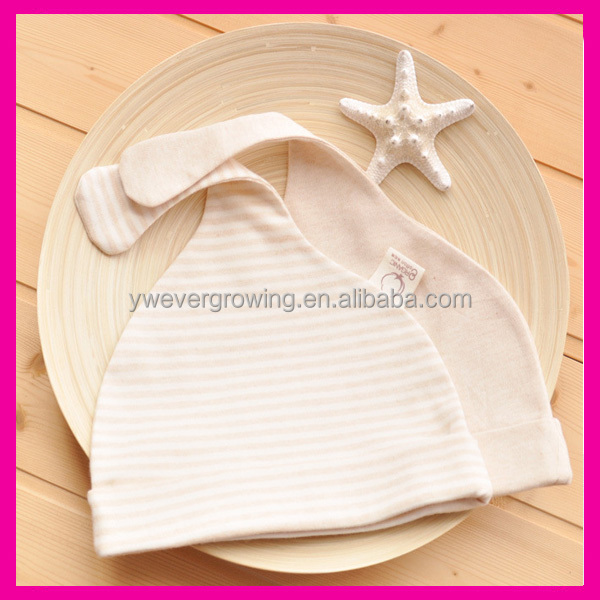 Organic Cotton Cute Stripe Infant Newborn Baby Hats with Long ear Wholesale