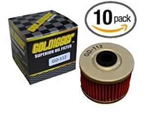 GOLDIGGER After Market HF112 & KN-112 Replacement Oil Filter Motorcycle/Dirt Bike/ATV Fit Honda Kawasaki XR200R XR250 XL350R XR400R XR500R KLX110 KLX KLX110L (10 Pack)