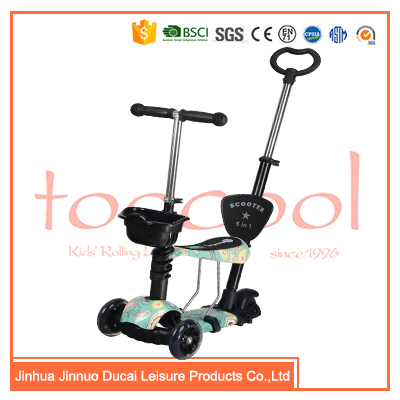 TK05 3 wheel mini kick scooter with seat and light wheel for kids