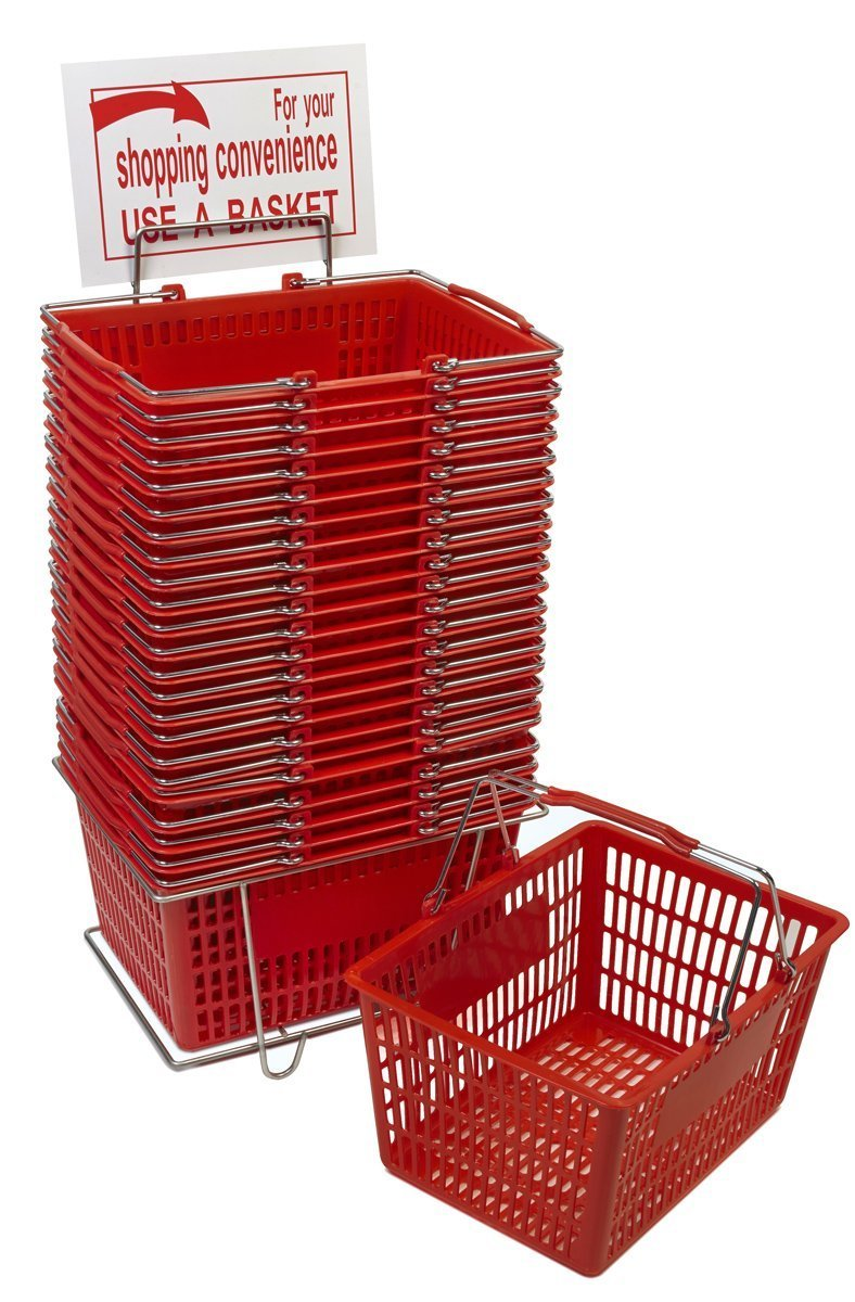 Red Shopping Basket Set (24 Baskets with Stand & Sign)
