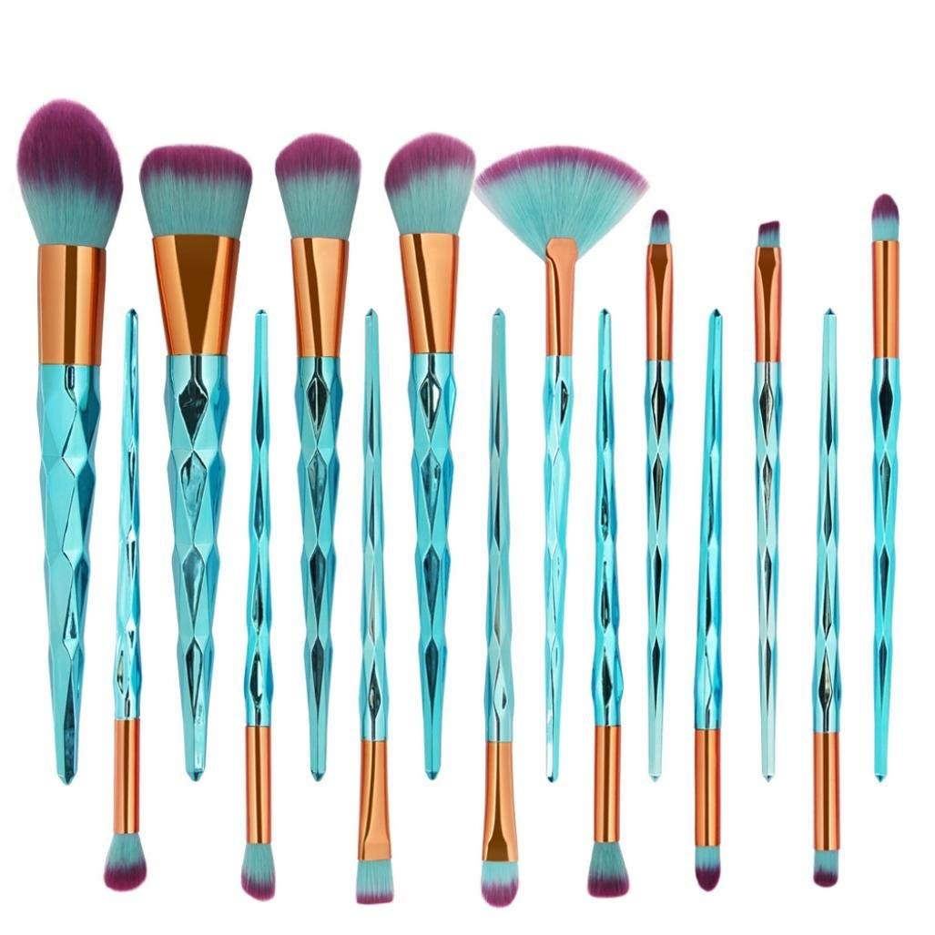 BCDshop Pro Makeup Brush Set New Arrival 15Pc Mermaid Foundation Eyeshadow Contour Eye Lip Face Makeup Brushes Set