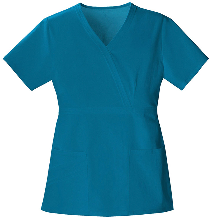High Quality Hospital Clothes Ladies Medical Uniforms Women's Mock Wrap Scrub Top with Two Patch Pocket and Side Vents