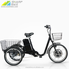 "22"" Steel Frame Cheap 36V 12Ah Lead Acid Battery three wheel electric tricycle SP22TR-B"