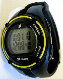 GSI Quality . Exercise Monitor Wrist Watch with Data Memory - Measures Distance, Time, Steps, Fat and Calories Burned - For Running, Jogging and Walking, Chronograph Stopwatch and Alarm Functions(Black & Yellow)