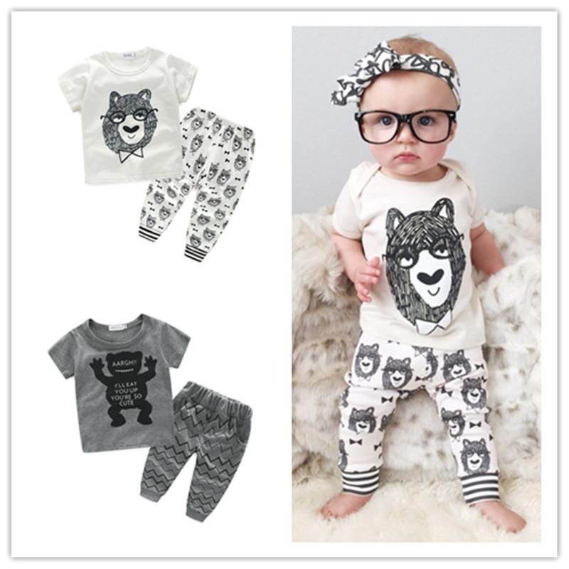Summer Baby Boys Girls Clothing Set Cotton Cute Little Monster Newborn Infant Outwear Clothes Short Sleeve T-Shirt Pants